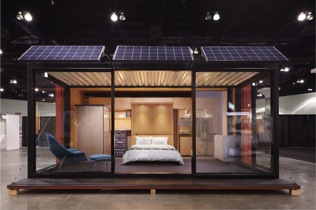 casa container com vidro e painel solar