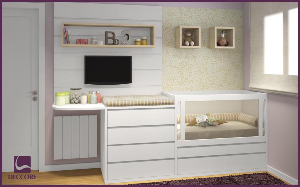 100 Nichos Para Quartos De Beb S Lindos E Inspiradores  ~ Home Tv Quarto Casal Com Painel Quarto Infantil