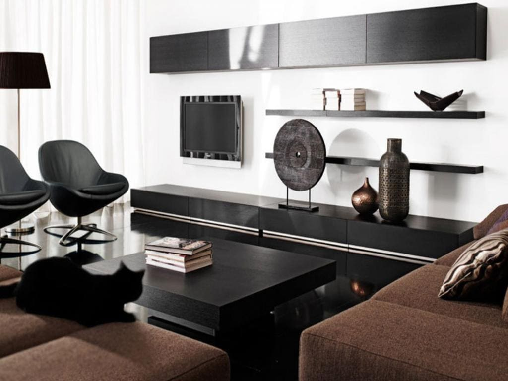 Black And White Home Decor Living Room Living Room Stunning Black Open  Shelves Attach White Intended For Black And White Home Decor A Timeless  Combination: ...