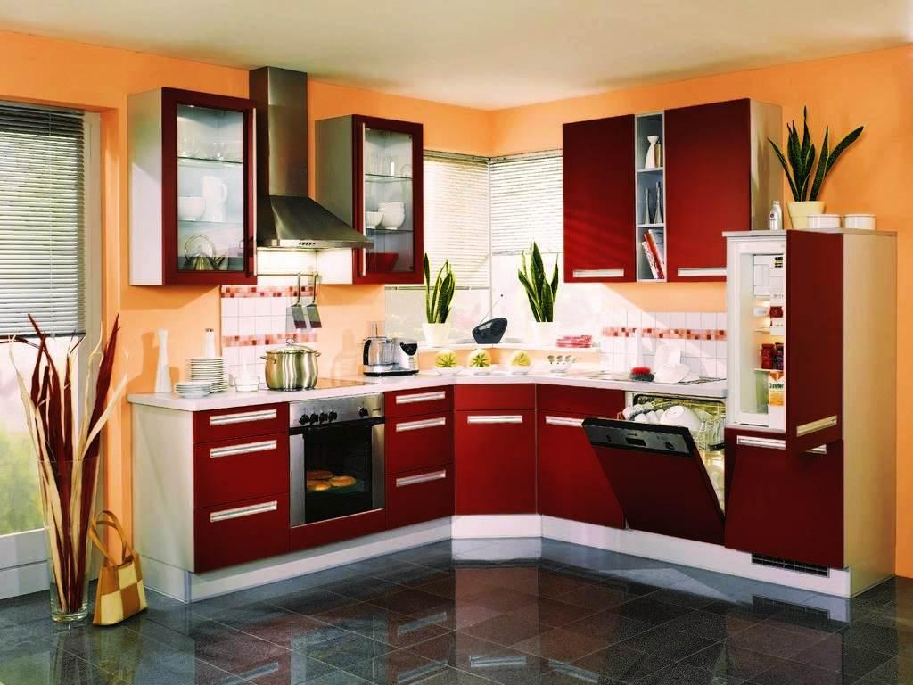 Cozinha Vermelha Com Preto Simples Pequena Total Constru O