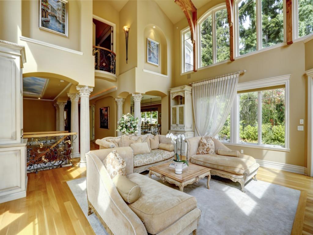 Sala de estar de luxo chiques e modernas Mais de 89