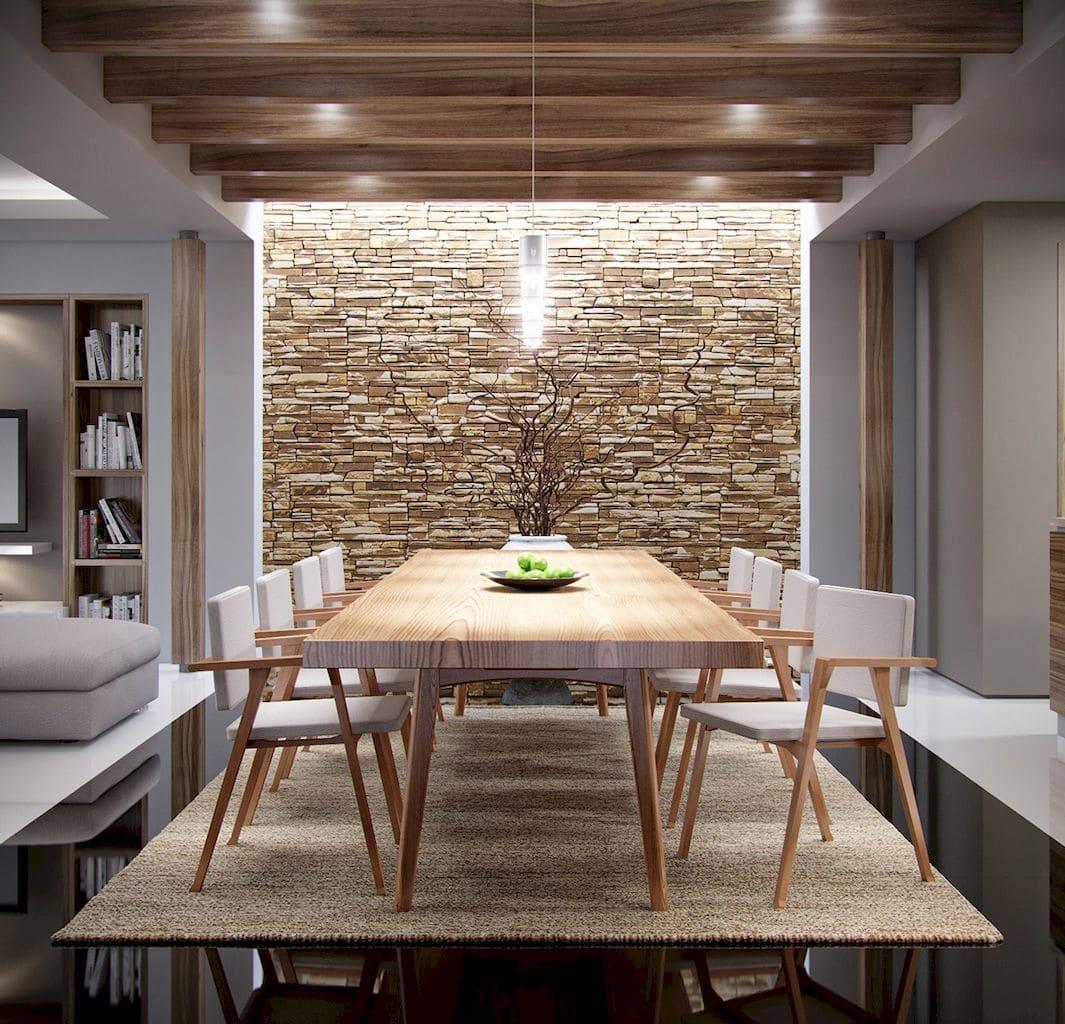 sala de jantar entre dois cômodos