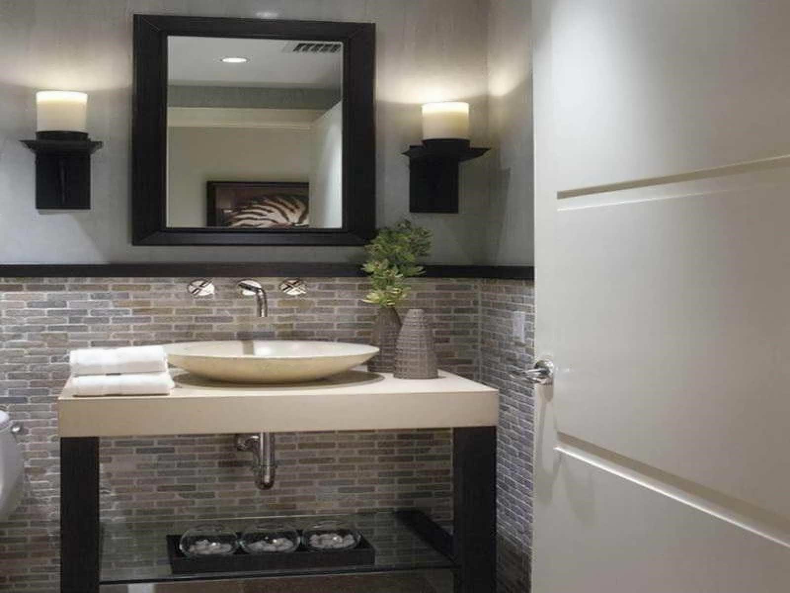 modern small half bathroom ideas {modern double sink ...