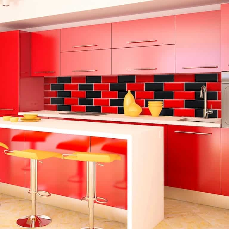Cozinha Preta E Vermelha Simples, Pequenas, Planejada E