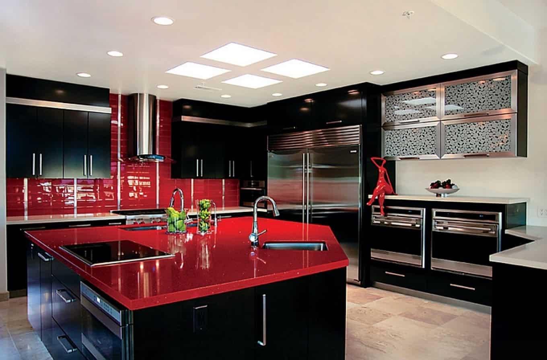 Cozinha Preta E Vermelha Simples Pequenas Planejada E Americana