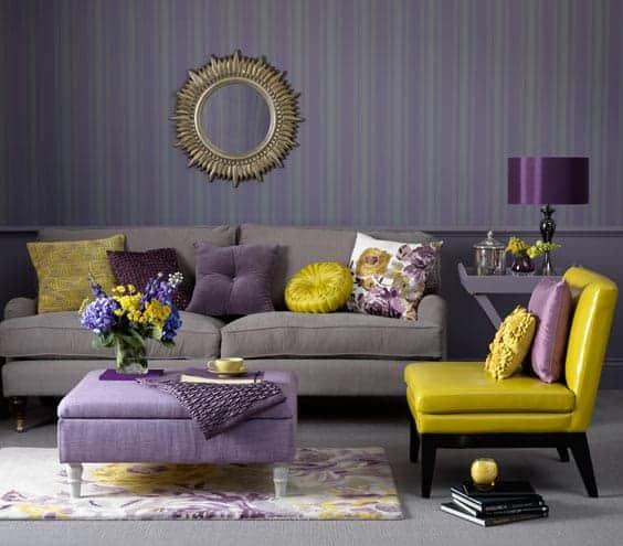 Resultado de imagem para decoração casa Roxo e amarelo