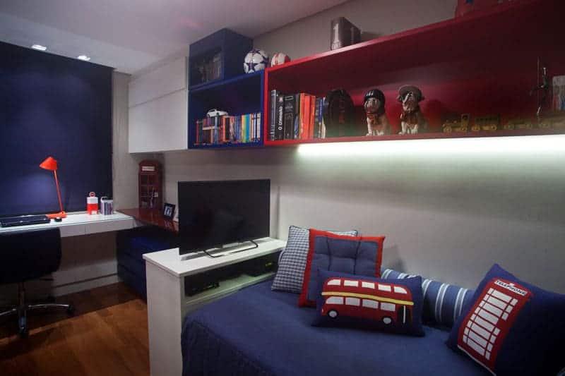 Resultado de imagem para decoração casa Vermelho e azul