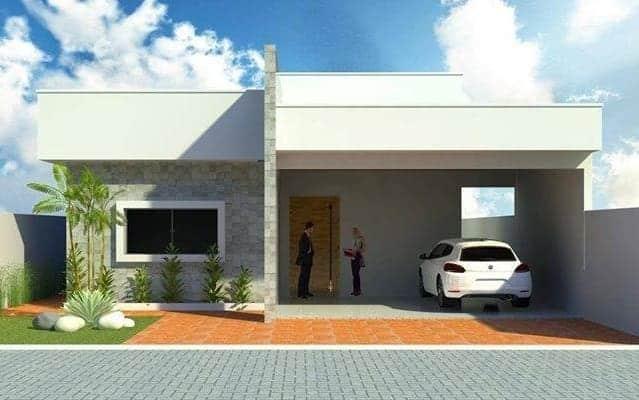 Resultado de imagem para fachada casa pequena com telhado embutido