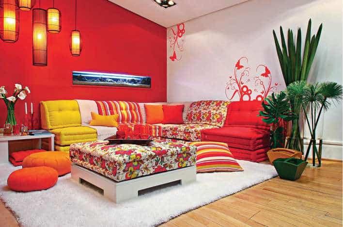 Resultado de imagem para decoração casa Laranja, vermelho e amarelo