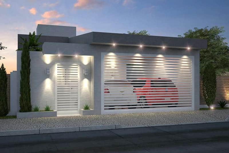 Resultado de imagem para fachada casa pequena iluminação