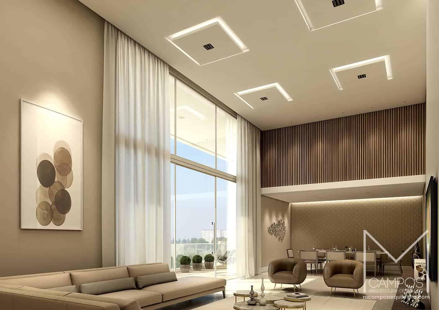 Plain False Ceiling Living Room