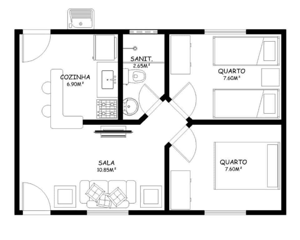 Como fazer uma planta baixa no papel no paint no word for Diseno de apartamentos de 45m2