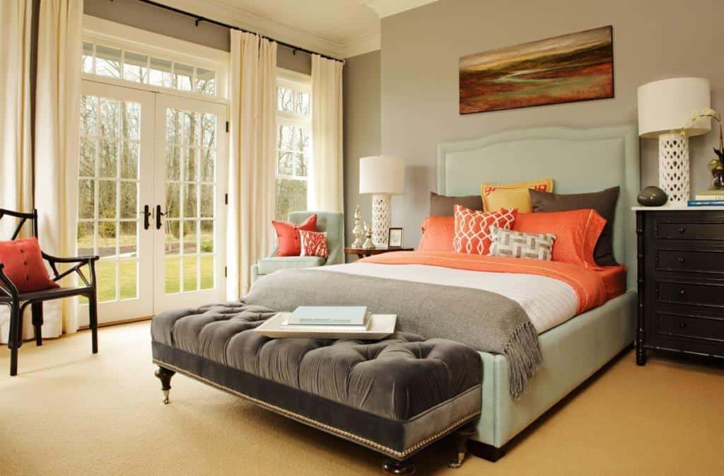 Resultado de imagem para quarto de casal Branco, cinza, creme e laranja