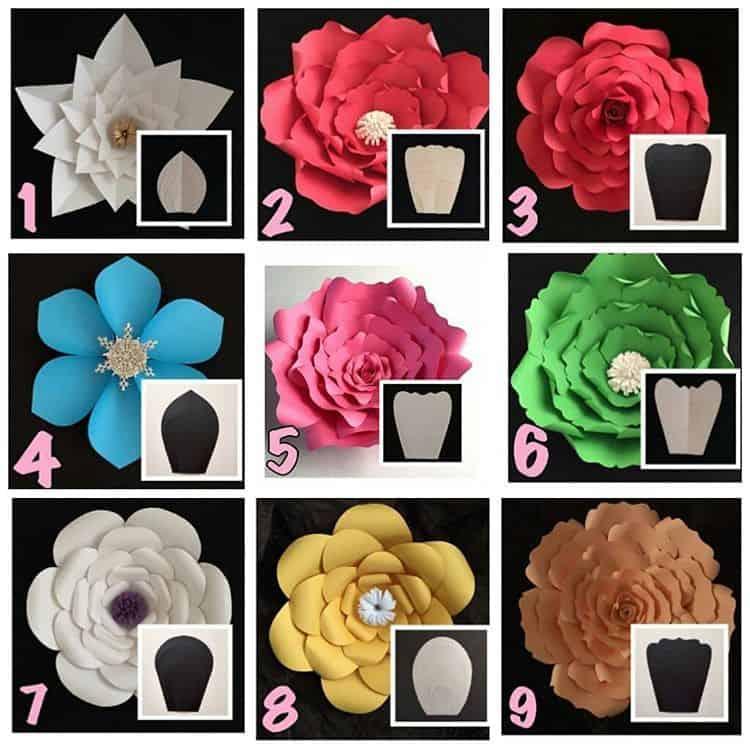9 iamgens com moldes de flor de papel