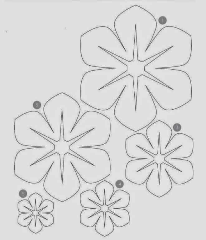 molde de flor em papel
