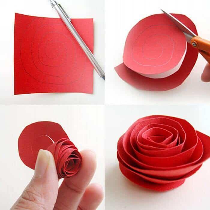 imagem mulher ensinando fazer uma rosa de papel