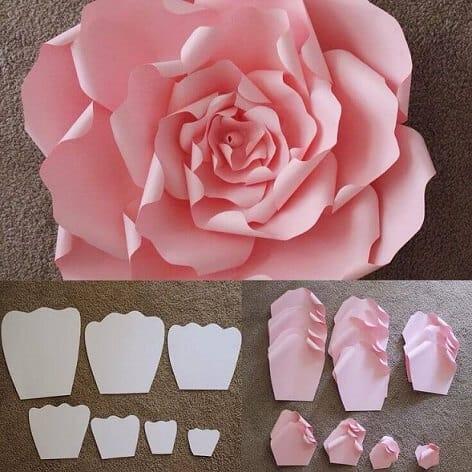 molde de rosa de papel