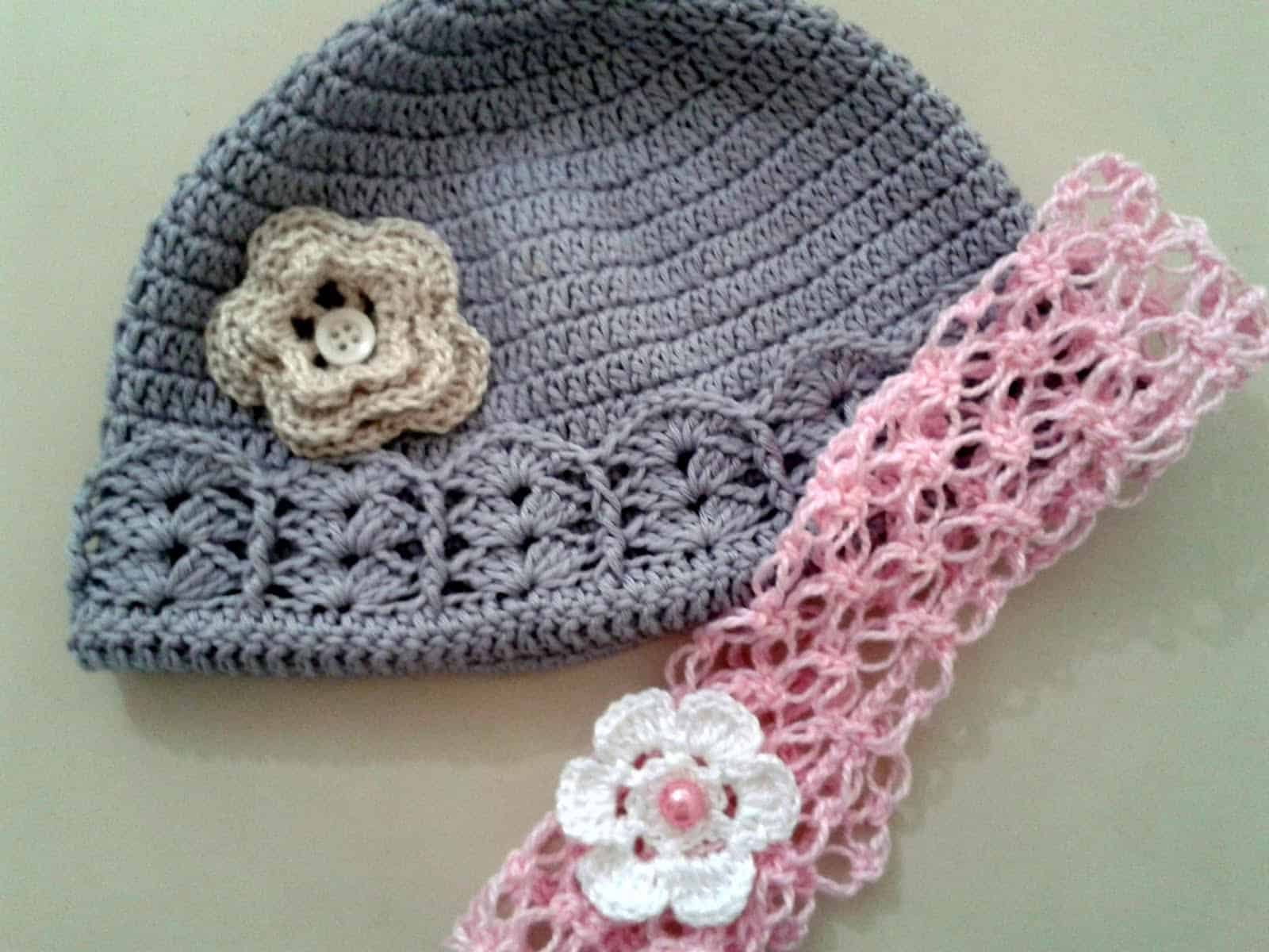 Como fazer flor de crochê: gorros e tiaras