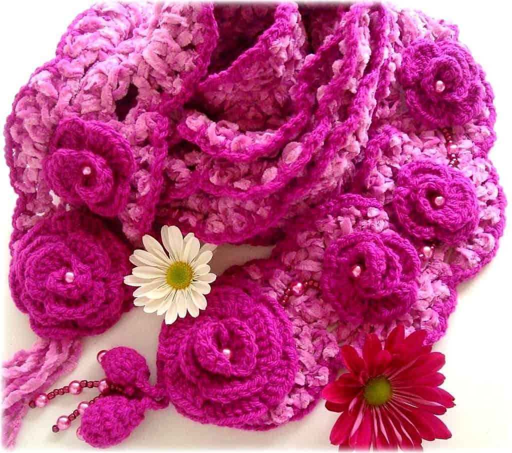 Como fazer flor de crochê: cachecol