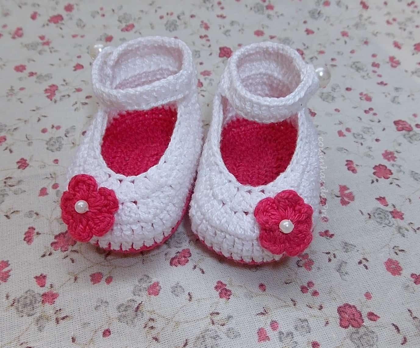 Como fazer flor de crochê: sapatinhos