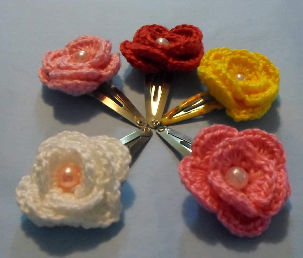 Como fazer flor de crochê: presilhas