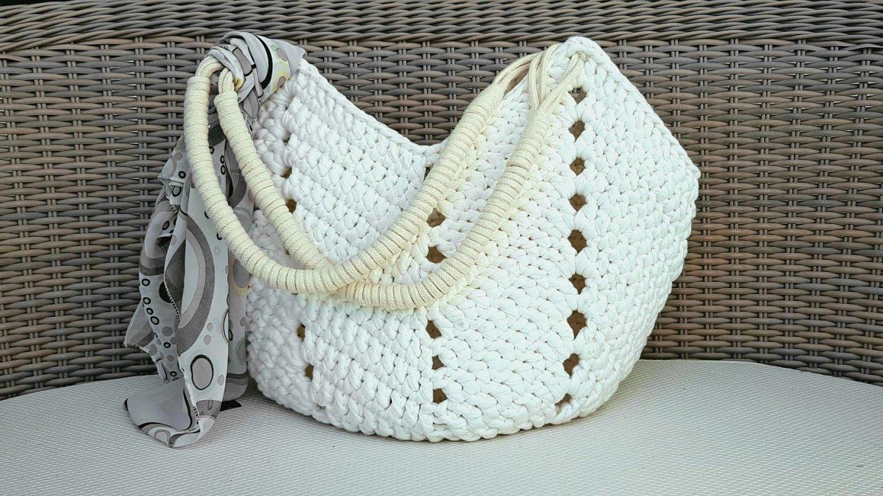 como fazer bolsa de crochê com alça de corda