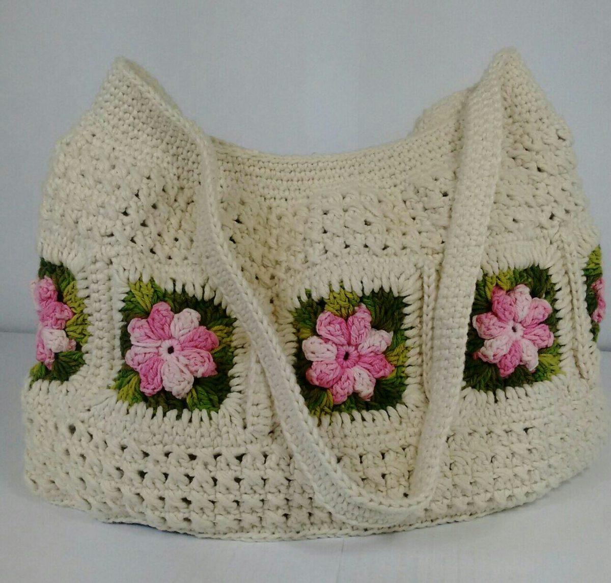 como fazer bolsa de crochê com apliques florais