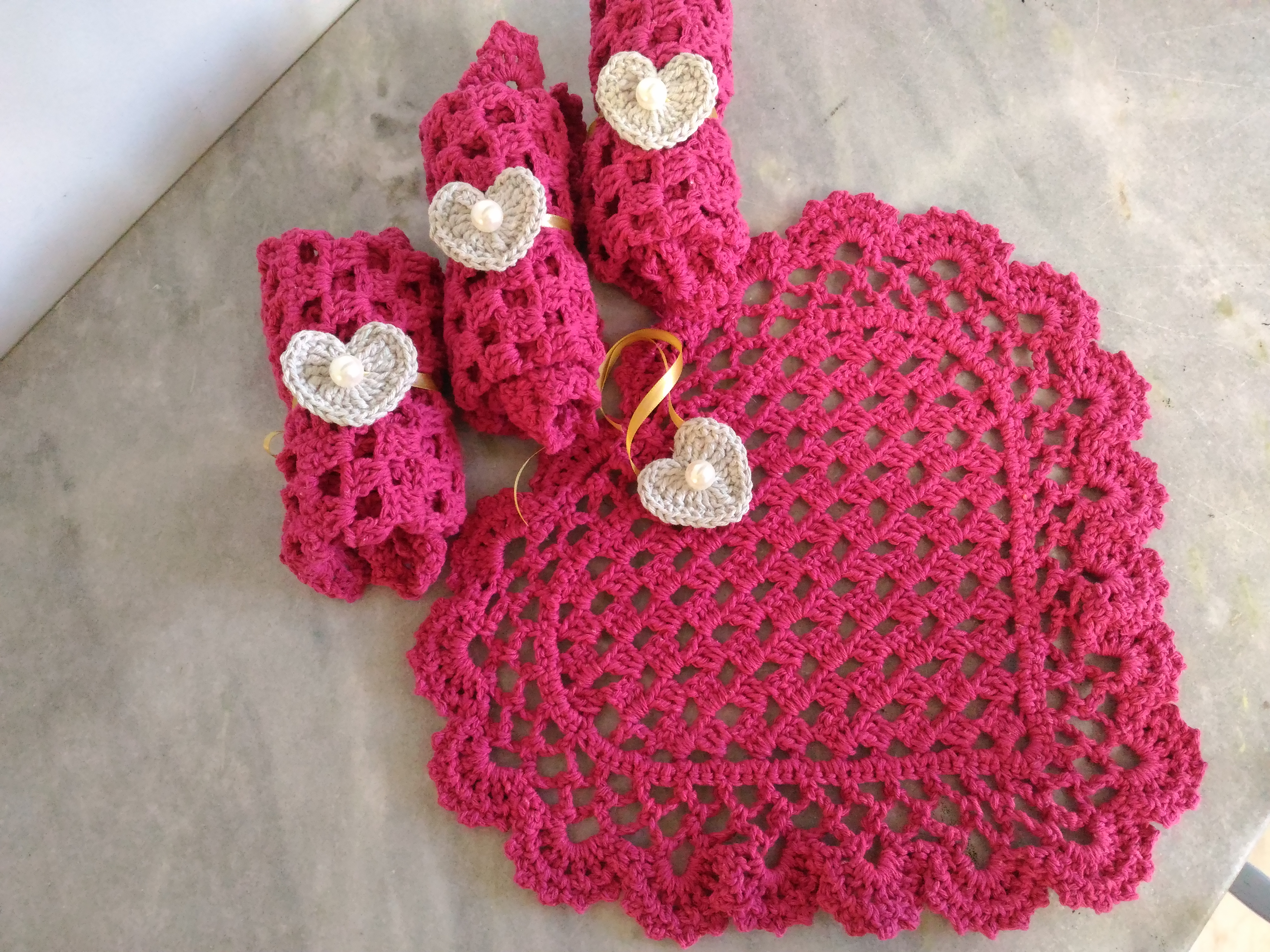 como fazer sousplat de croche de coração