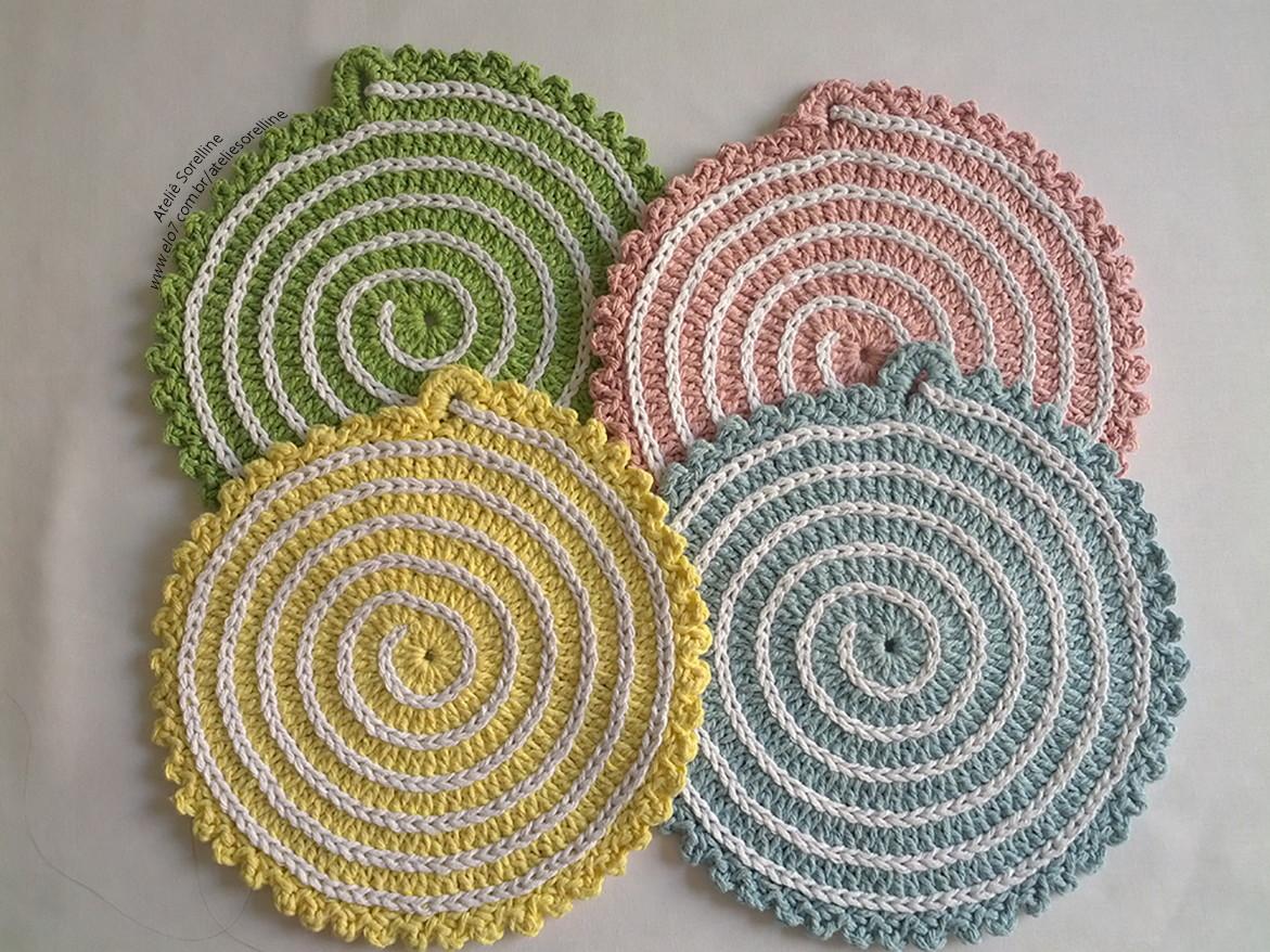 como fazer sousplat de croche em espiral
