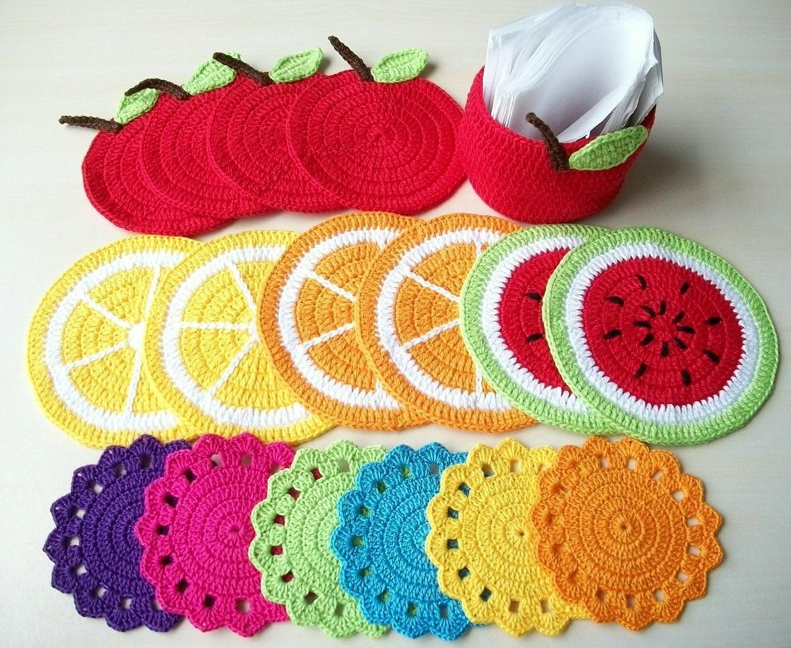 como fazer sousplat de croche de frutas