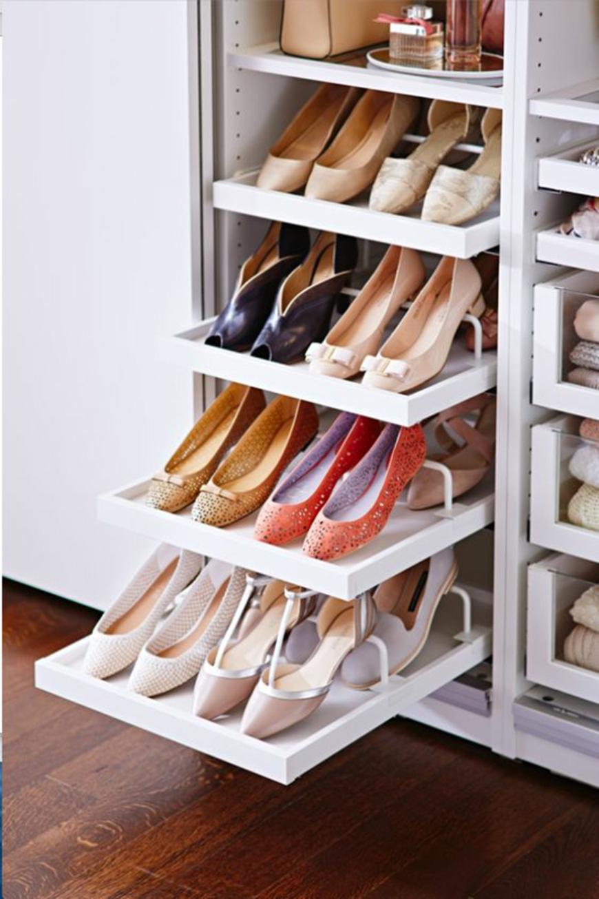 Como Organizar Sapatos com prateleiras deslizantes