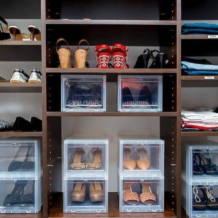 como organizar sapatos com caixas organizadoras