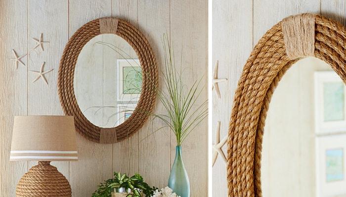Espelho com moldura de corda
