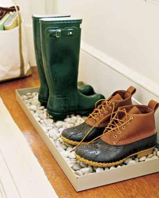 Pedras de jardim para colocar os sapatos