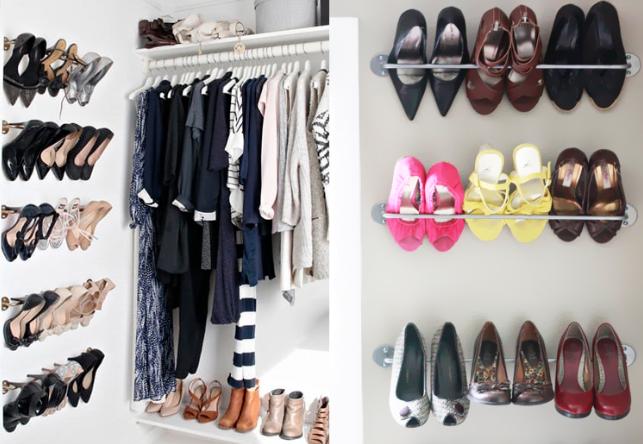 como organizar sapatos com porta toalhas