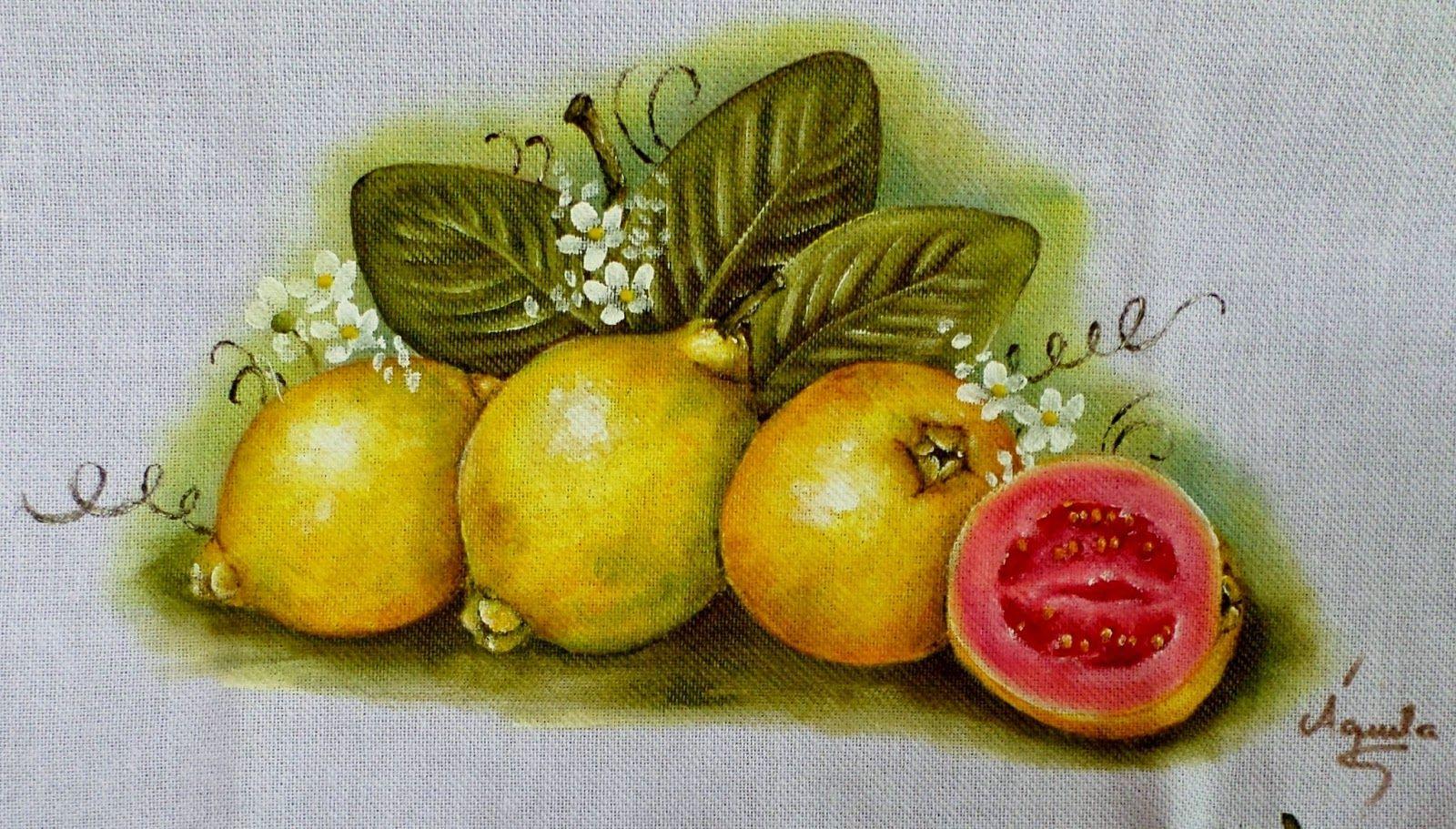 pintura em tecido de flores e frutas