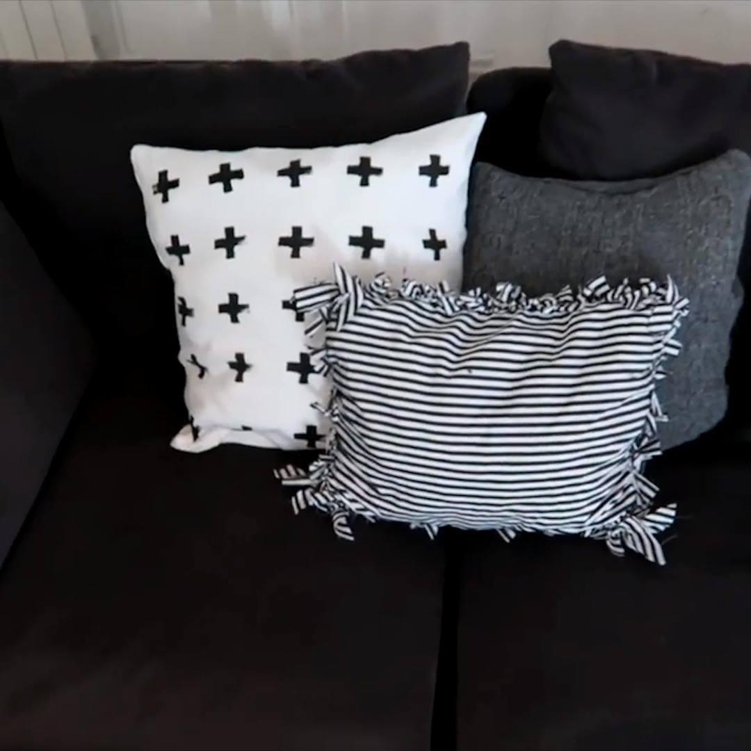 como fazer almofada em tecido branco e preto.