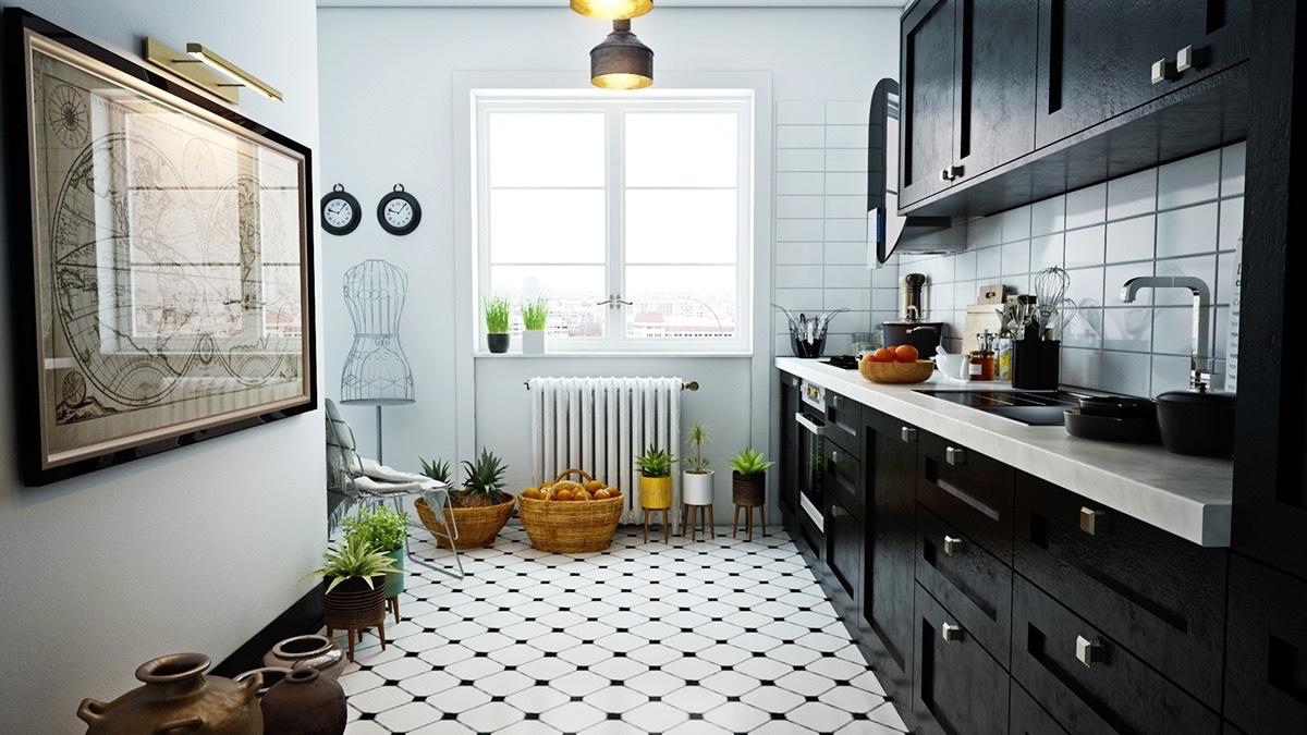 Desta vez a cozinha escandinava usa o contraste do piso geométrico com armários em madeira escura e tampo de mármore branco.
