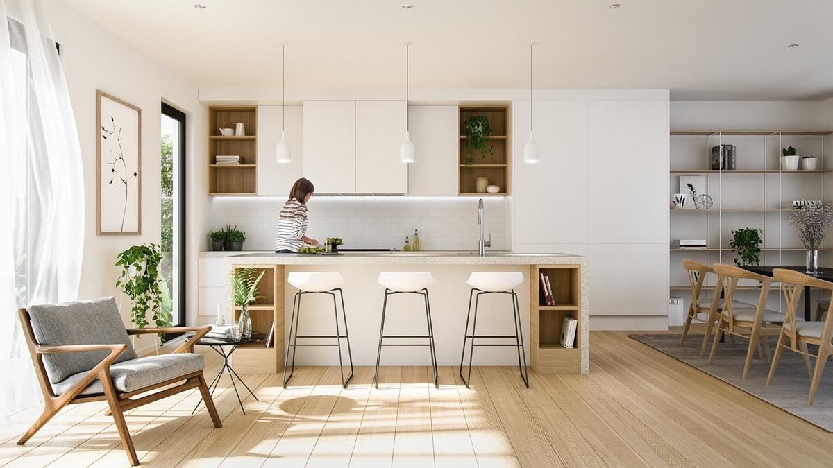 Cozinha escandinava integrada com sala de jantar e sala de estar.