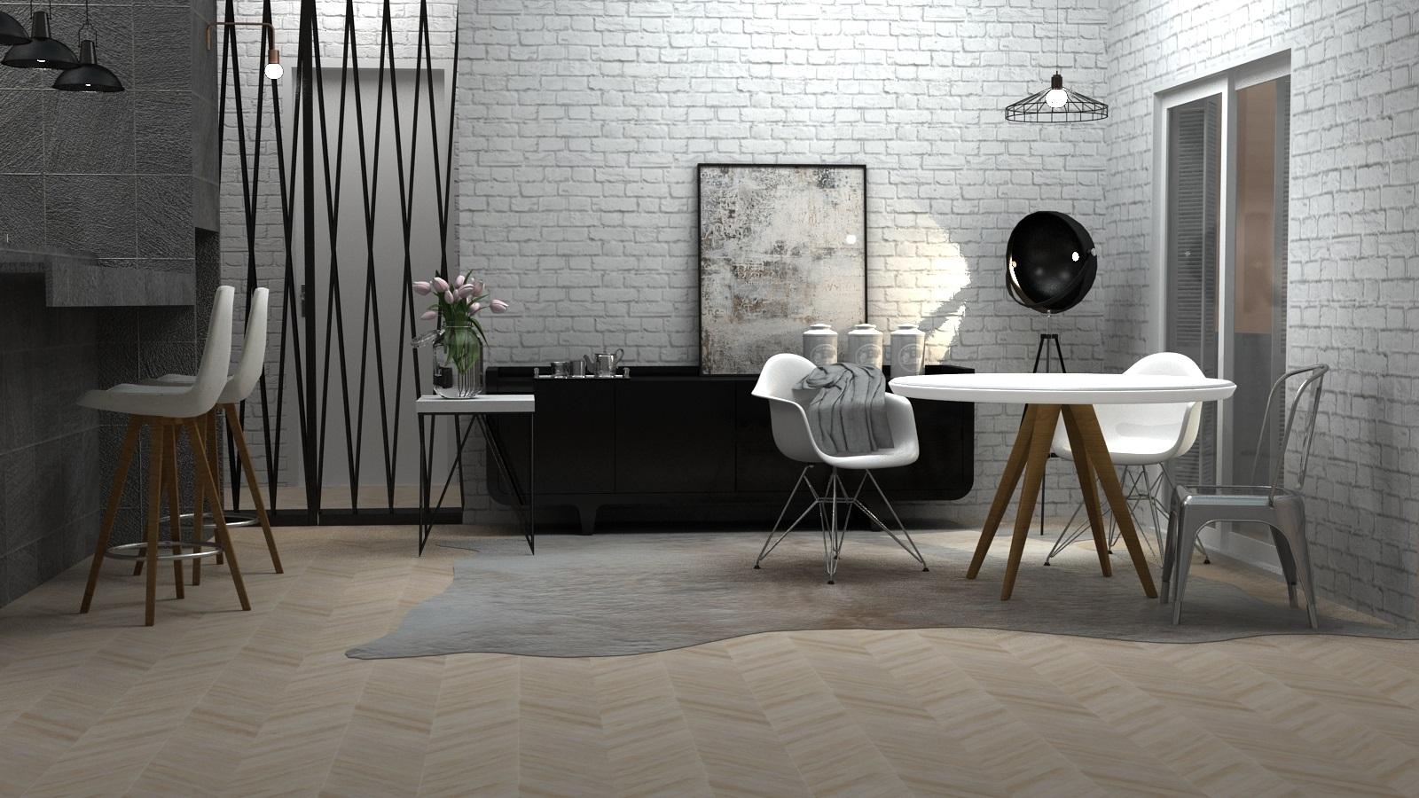 A parede em tijolos aparentes misturada com os tons neutros, piso geométrico de cor bege e poucos elementos em preto e metal são elementos sempre presentes no estilo escandinavo.