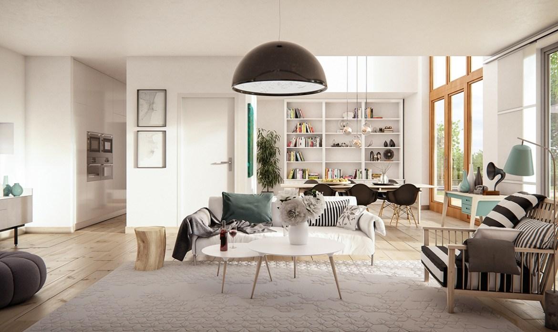 As janelas amplas com os tons neutros da sala, pontuados com alguns focos de preto nos estofados e luminária harmonizam a decoração em estilo escandinavo.