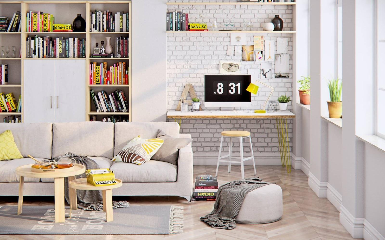 Aqui o amarelo adiciona o contraste com o resto das cores neutras e o branco das paredes e tijolos aparente.