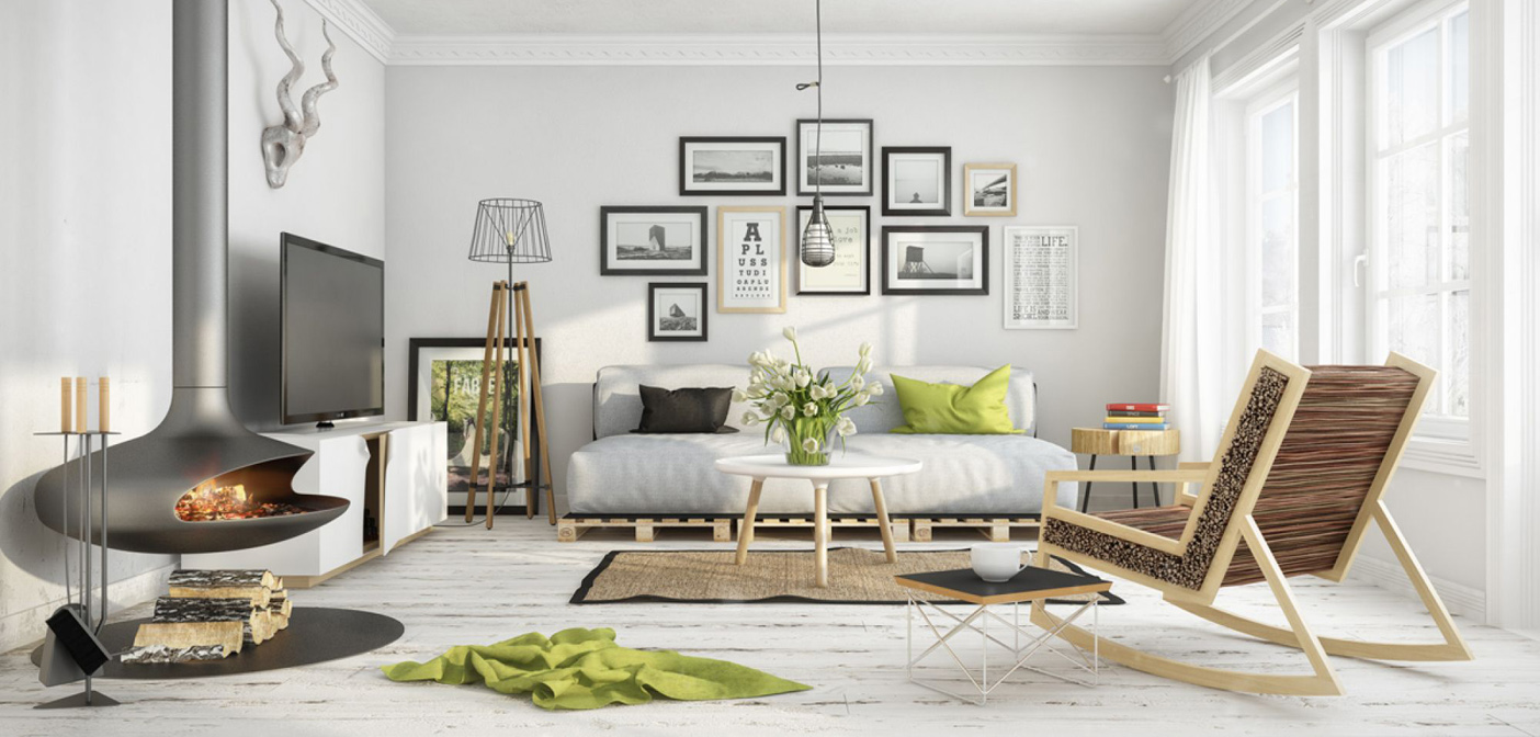 Essa sala utiliza vários elementos do estilo escandinavo: lareira, luminária de metal pendente, materiais naturais, paredes brancas e tons neutros com splashes de cores cítricas e preto para contraste.