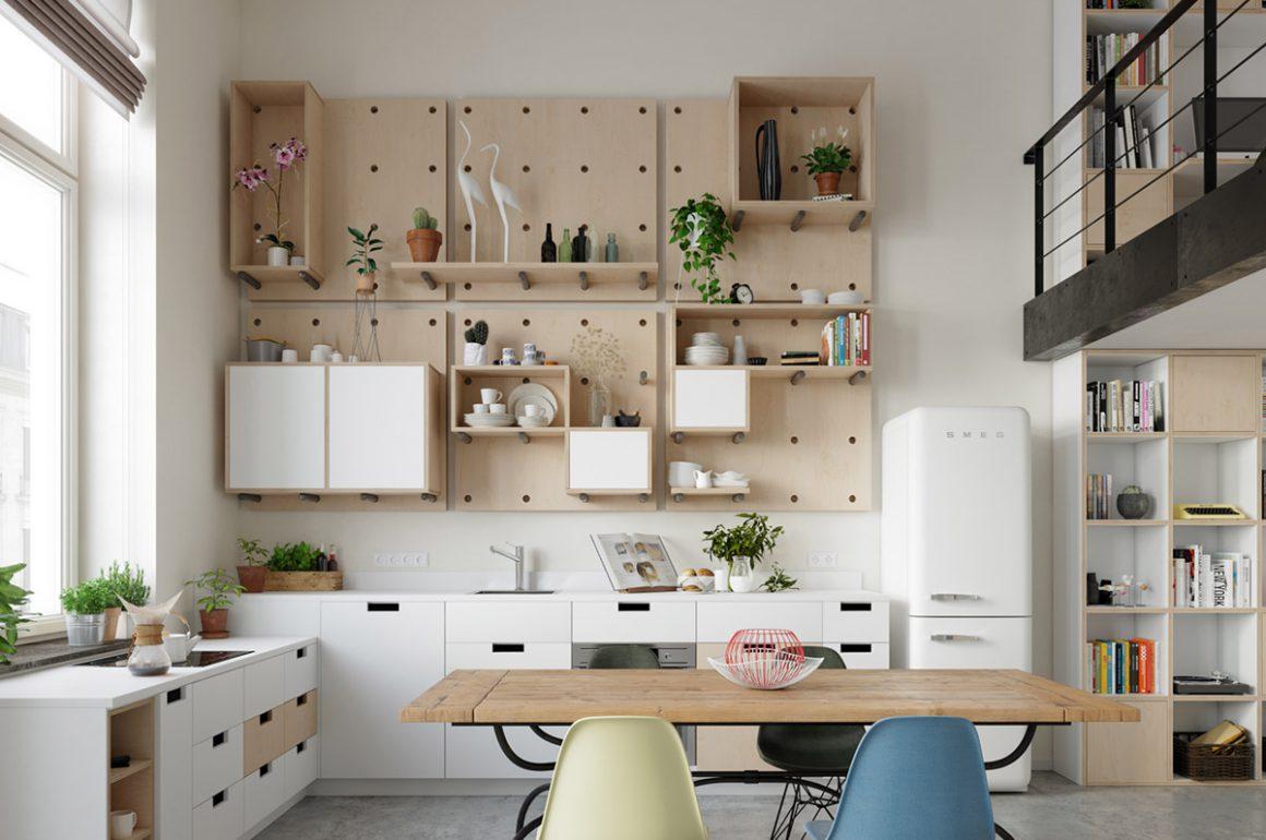 Essa cozinha em estilo escandinavo faz uso de madeira em tons claros alternando com branco.
