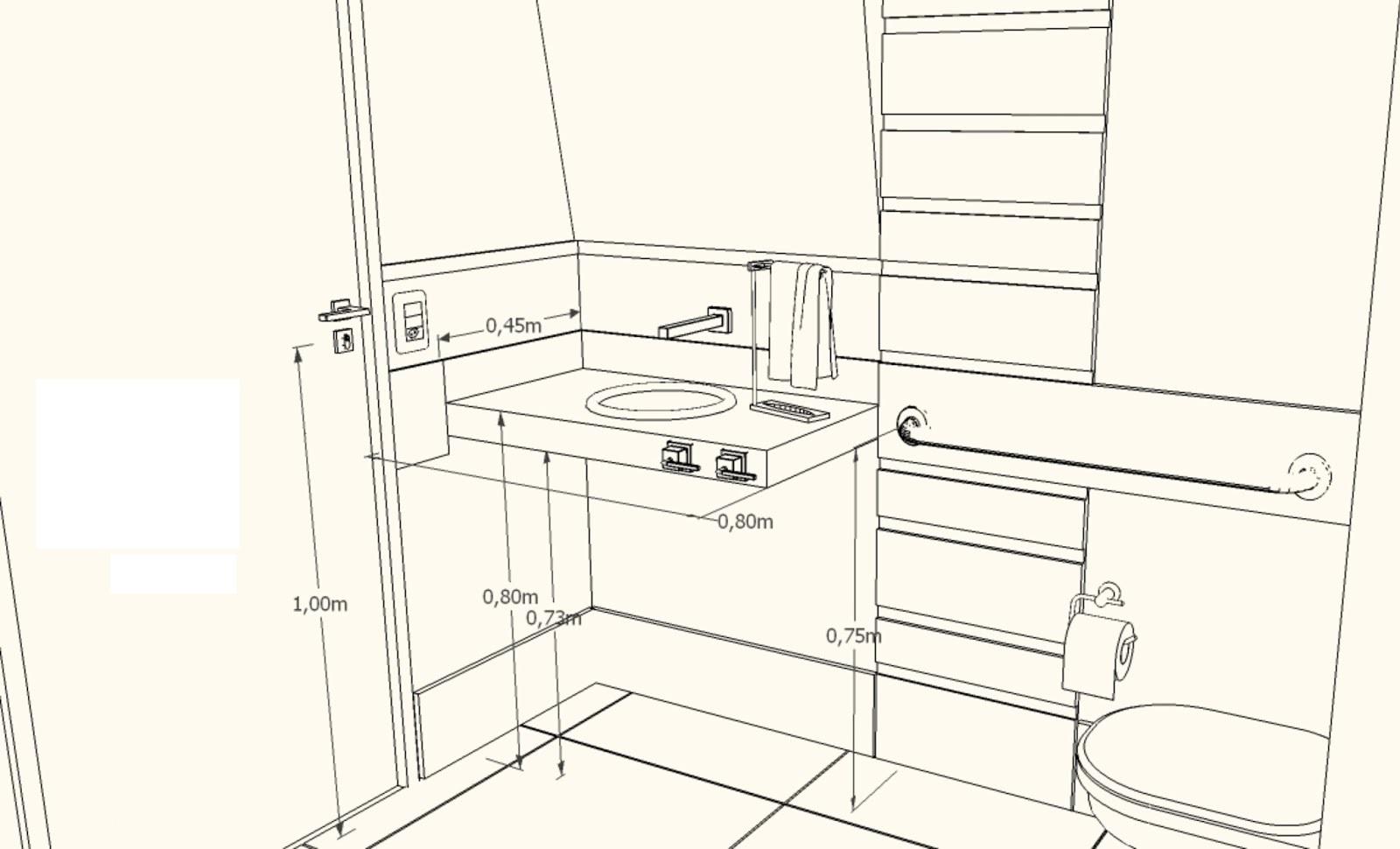 Medidas da pia em um banheiro PNE
