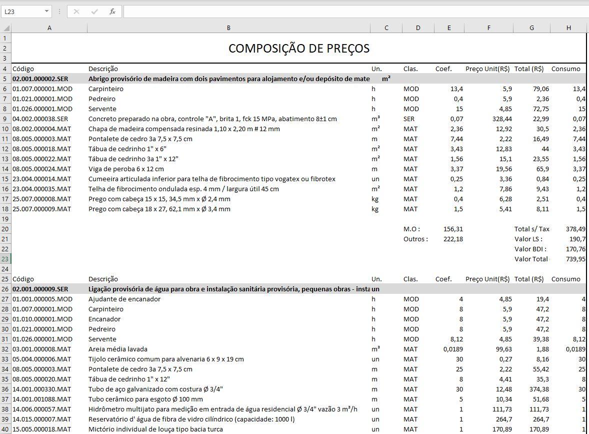 Modelo de Planilha de Orçamento de Obras