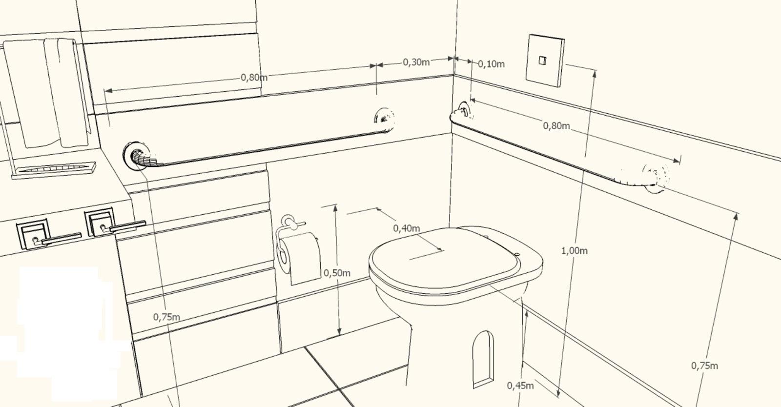 Medidas do vaso sanitário em um banheiro PNE