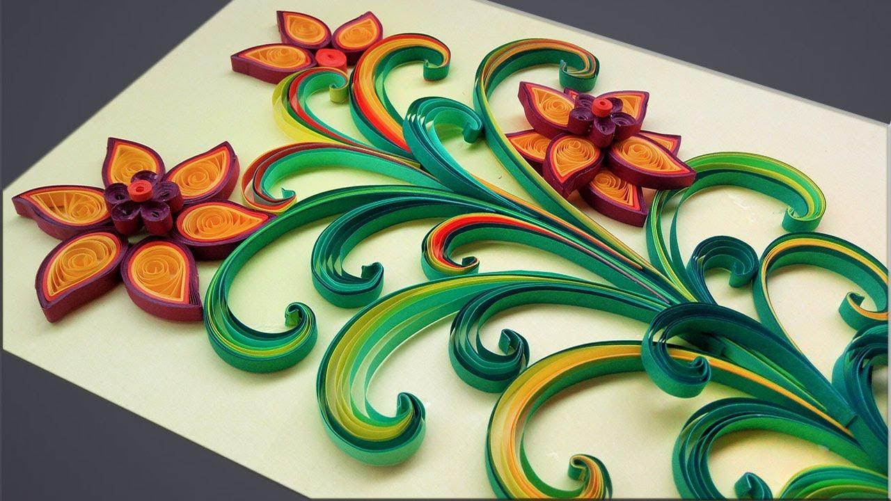 flores coloridas em quilling