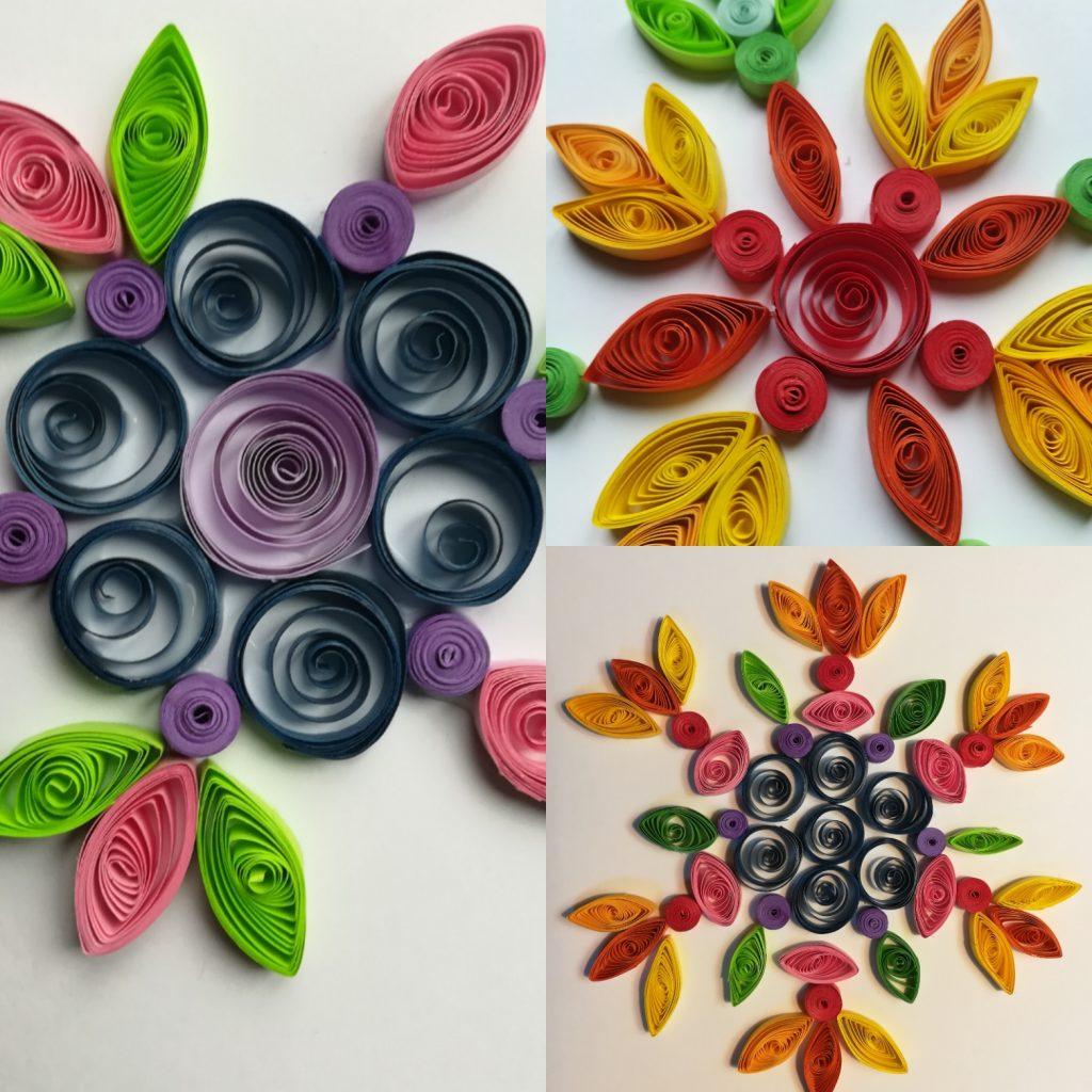 Flores em quilling em mandala