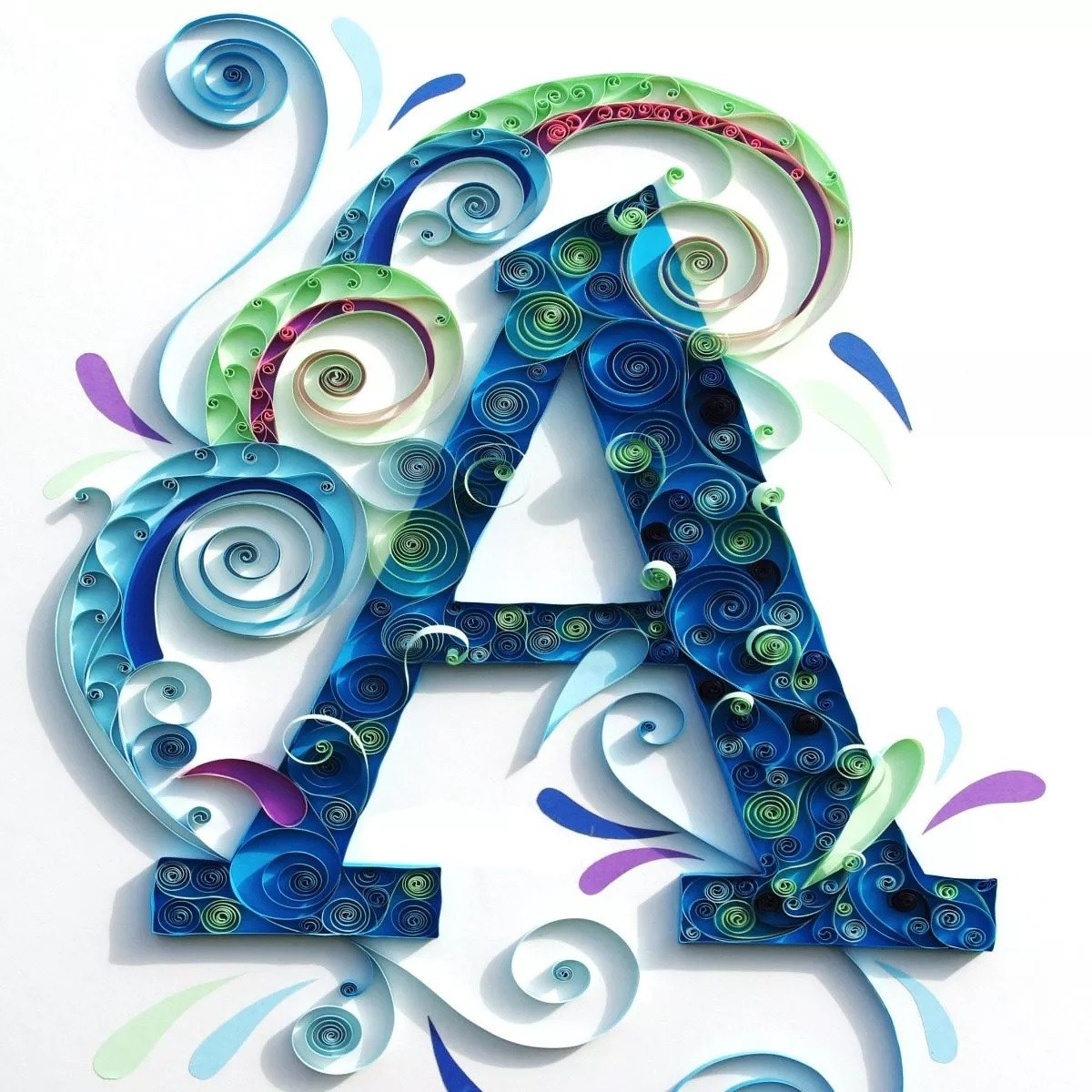 monograma da letra A emq uilling